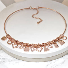 18ct rose gold plated Multi Shape Charm Choker Necklace