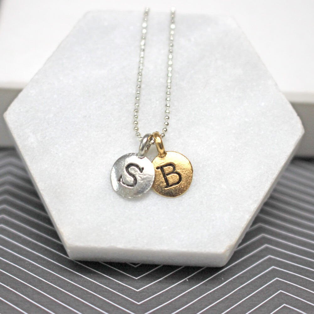 Close up of Personalised Initials Necklace