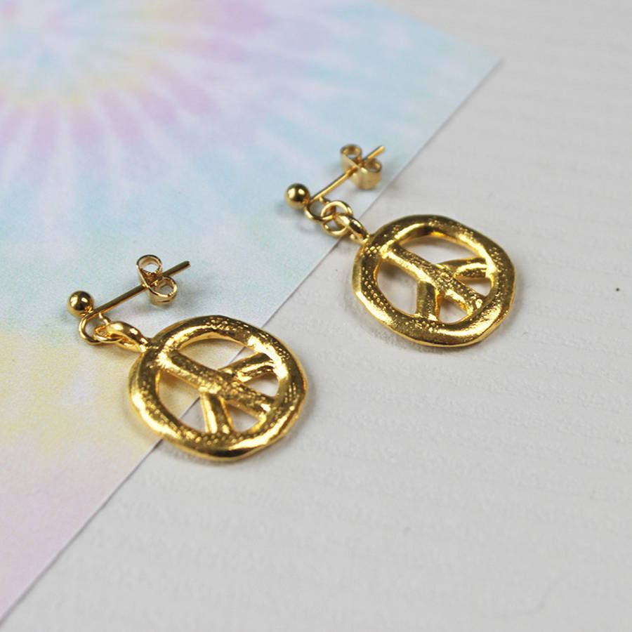 24ct gold plated Peace Sign Earrings