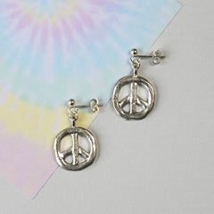 Sterling silver plated Peace Sign Earrings