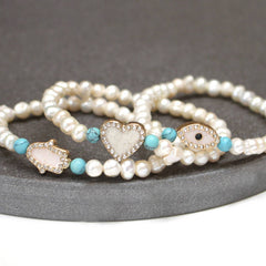 Pearl And Diamante Charm Bracelet