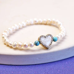 Heart Pearl And Diamante Charm Bracelet
