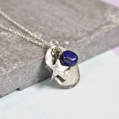 Sterling silver plated September birthstone birthday gift Lapis birthstone necklace