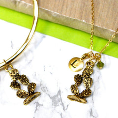 24ct gold plated Personalised Cactus Charm Necklace And Bangle