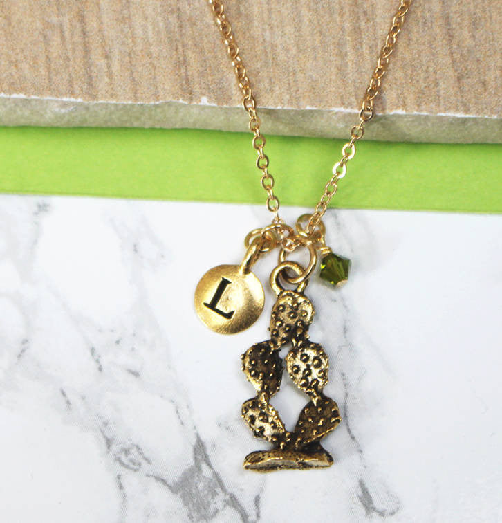 Personalised Cactus Charm Necklace