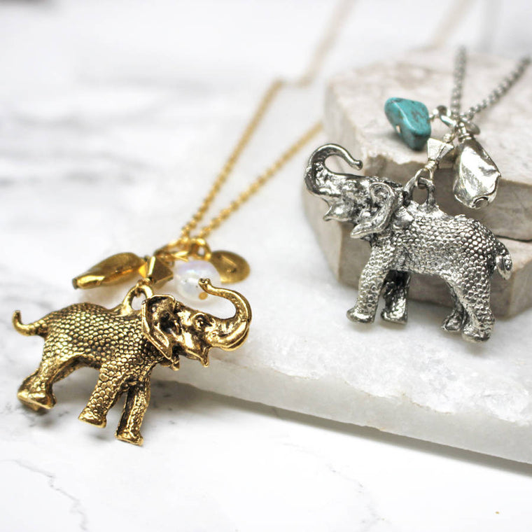 Personalised Elephant Birthstone Necklace
