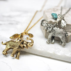 Personalised Elephant Birthstone Necklace sterling silver and gold