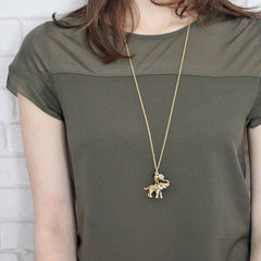 Personalised Elephant Birthstone Necklace 24ct gold