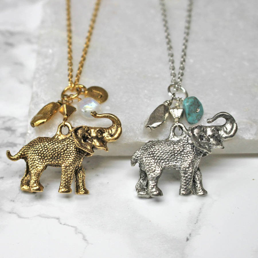 Personalised Elephant Birthstone Necklace silver and gold