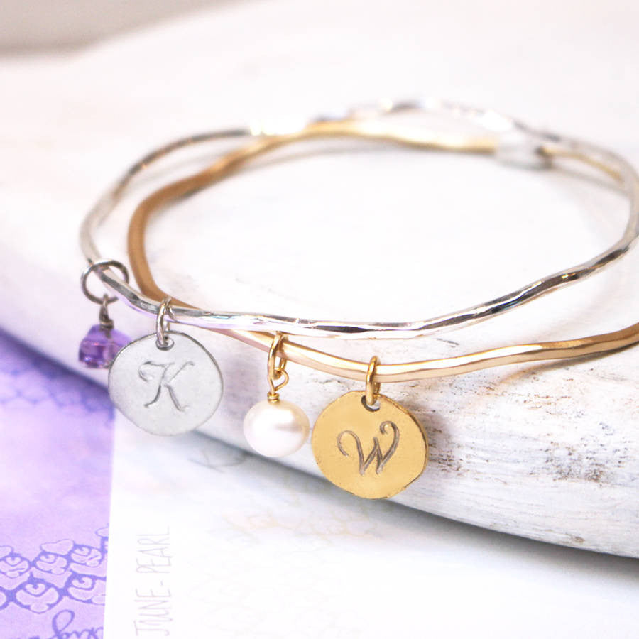 Close up of Personalised Family Birthstone Charm Bangle