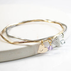 Personalised Heart And Swarovski Crystal Bangle