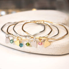 Silver and gold personalised bangles with heart and Swarovski crystal perfect bridesmaid gift
