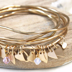 Matt gold personalised heart bangles with light pink and opal Swarovski crystals