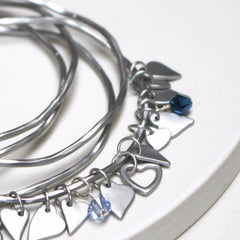 Antique sterling silver plated personalised heart bangles with Swarovski Crystals
