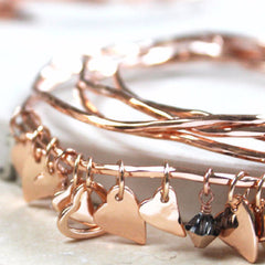 Shiny 18ct rose gold plated Personalised Heart Bangles With Swarovski Crystals