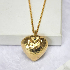 24ct gold plated smal Personalised Large Hammered Heart Pendant with heart charm