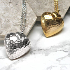 Personalised Large Hammered Heart Pendant silver and gold