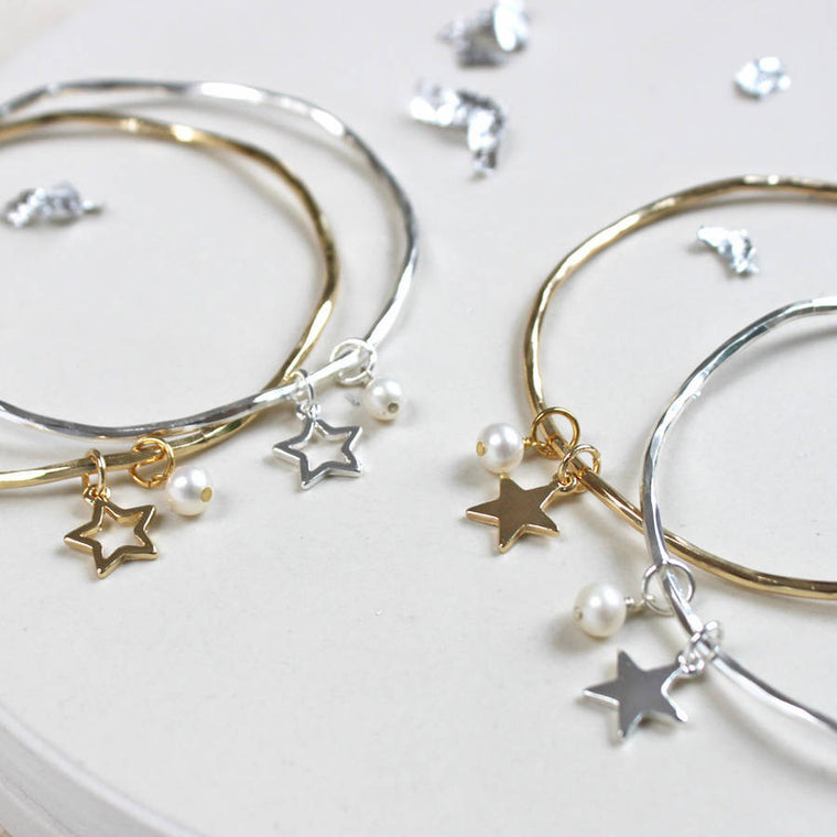 Star And Pearl Personalised Bangle
