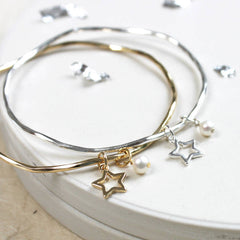 Gorgeous bridesmaid present; personalised bangle with star and freshwater pearl