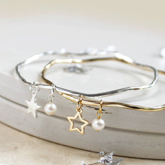 Personalised Star And Pearl Bangle
