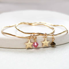 24ct gold plated Personalised Star And Swarovski Crystal Bangle
