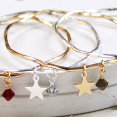 Personalised Star And Swarovski Crystal Bangle