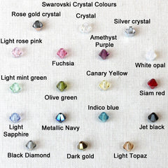 Jamie London Swarovski crystal colour chart