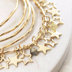 24ct gold plated Personalised Star Bangles With Swarovski Crystals