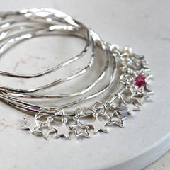 Sterling silver plated Personalised Star Bangles With Swarovski Crystals