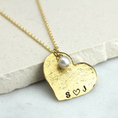 Close up of Personalised Heart Necklace, Gold