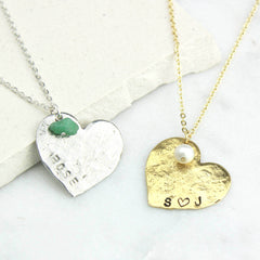 Close up of Personalised Heart Necklace, silver and gold
