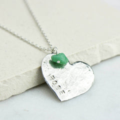 Close up of Personalised Heart Necklace, Silver