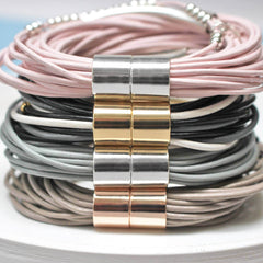 Personalised Multi Strand Leather Bracelet colour selection