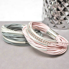 Personalised Multi Strand Leather Bracelet Grey and Pink