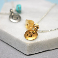 Close up of Personalised Initial Birthstone Necklace