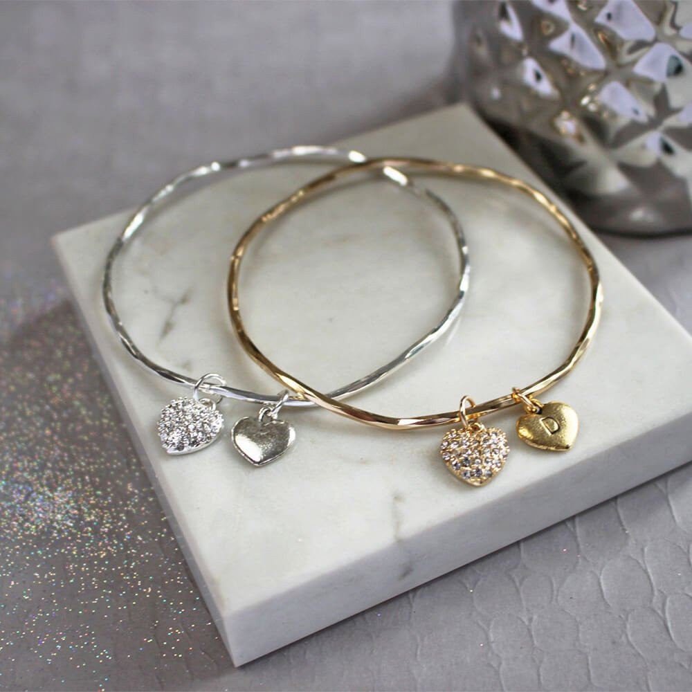 Silver and gold personalised diamante heart bangle
