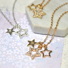 Personalised Diamante Star Necklace silver and gold