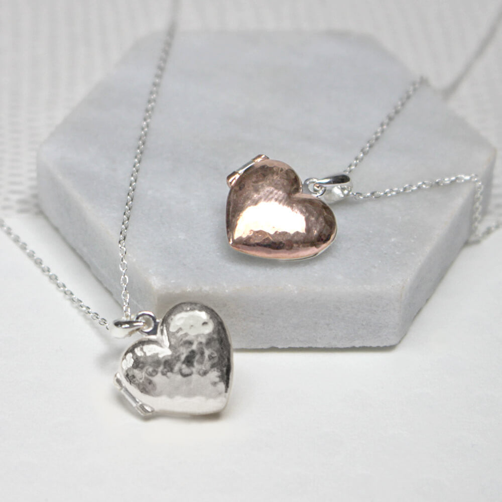 Close up of Personalised Message Heart Locket Necklace silver and rose gold