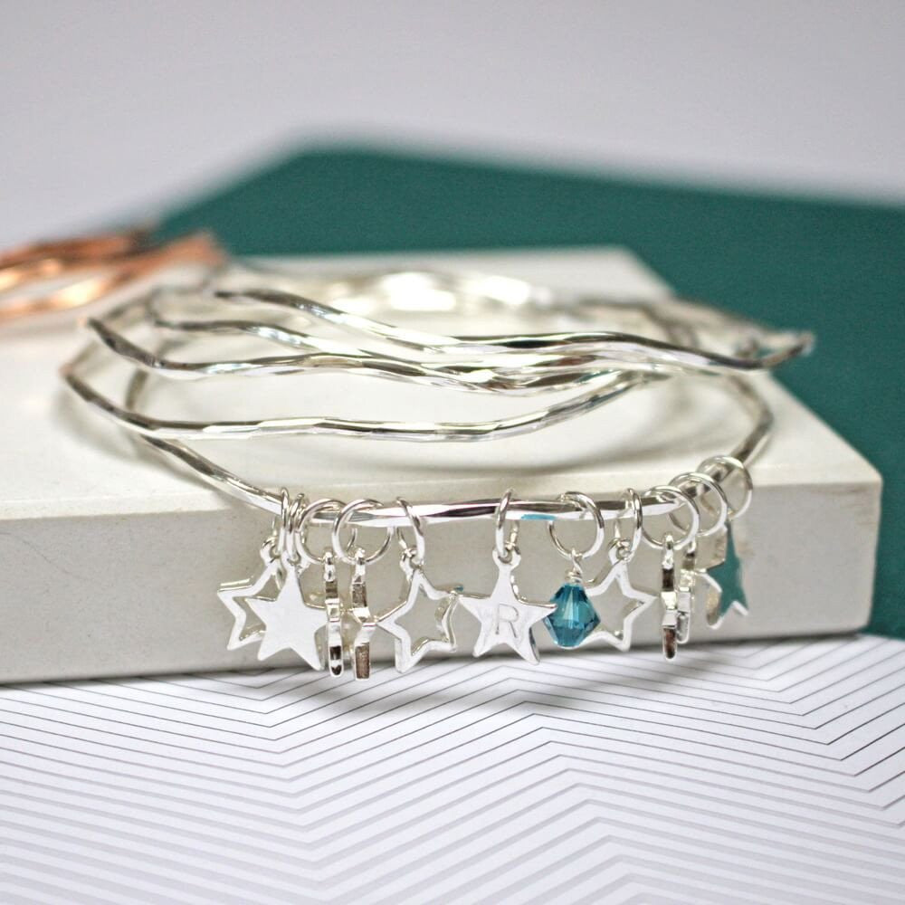 Personalised bangle set in silver with star charms and Swarovski crystals