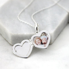 Close up of Personalised Message Heart Locket Necklace picture inside
