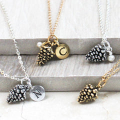 Pine Cone Necklace, silver and gold with initial charms