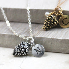 Pine Cone Necklace with initial charm