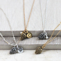 Pine Cone Necklace, silver and gold
