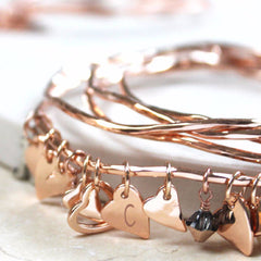 Rose Gold Heart Bangles With Swarovski Crystals