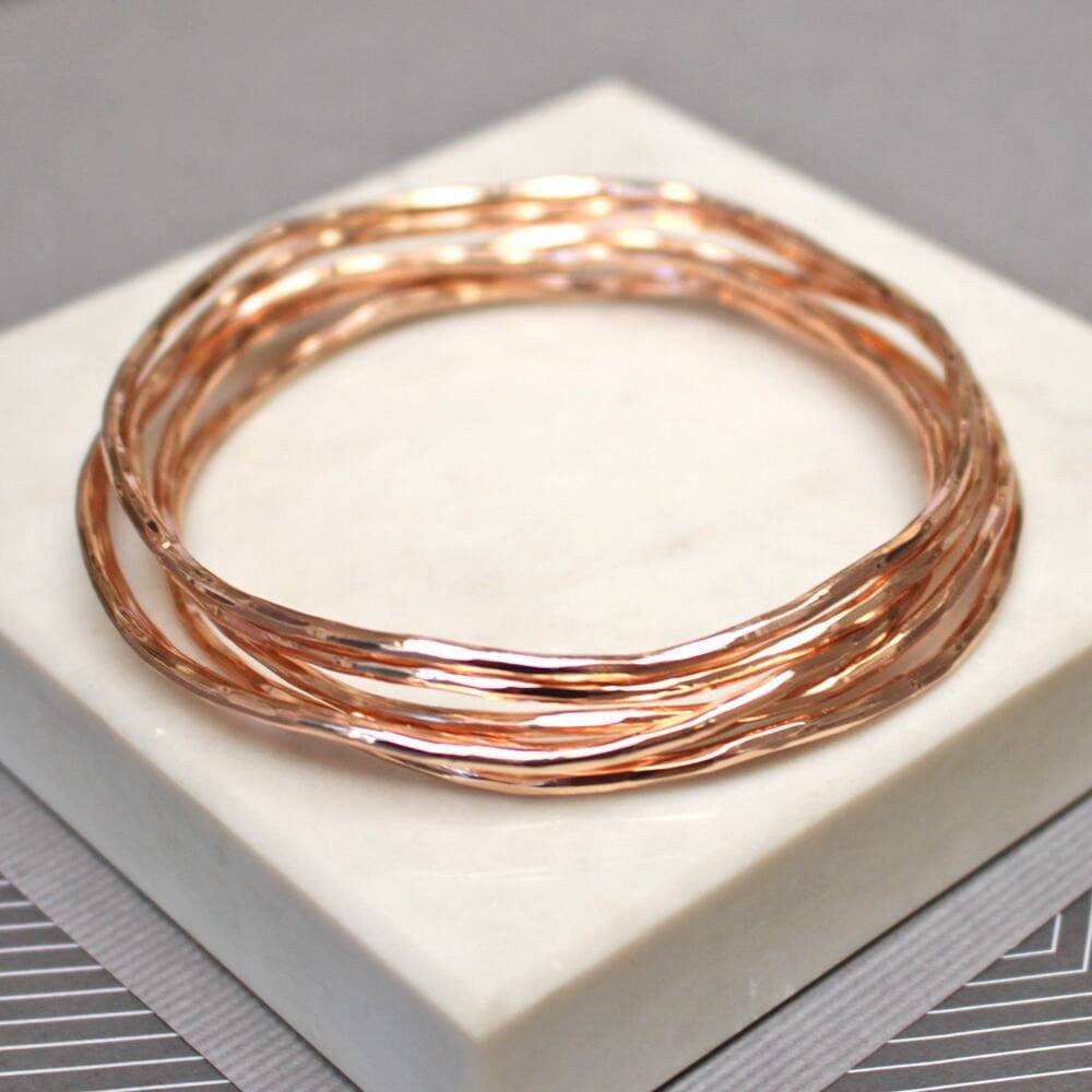 Gorgeous rose gold bangle set, perfect for stacking and layering