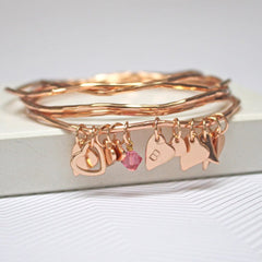 Rose gold bracelet set with personalised heart charm and rose pink Swarovski crystal