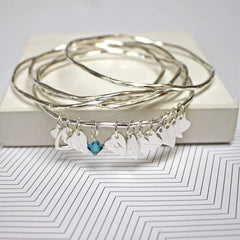 Personalised silver bangle set with heart charms