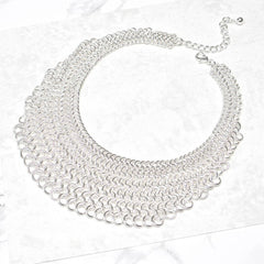 Silver Chainmail Statement Necklace