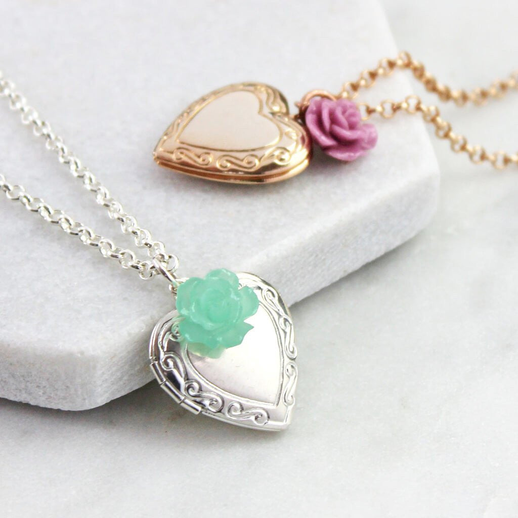 Silver vintage heart locket with mint rose and rose gold vintage heart lockets with rosey pink rose