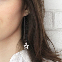 Diamante Star Thread Through Earrings silver